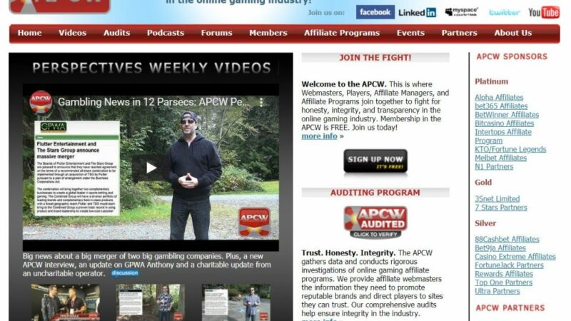 APCW: Association of Players, Casinos, and Webmasters in the online gaming industry