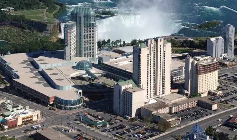 View from the air at fallsview Casino Resort in Niagara
