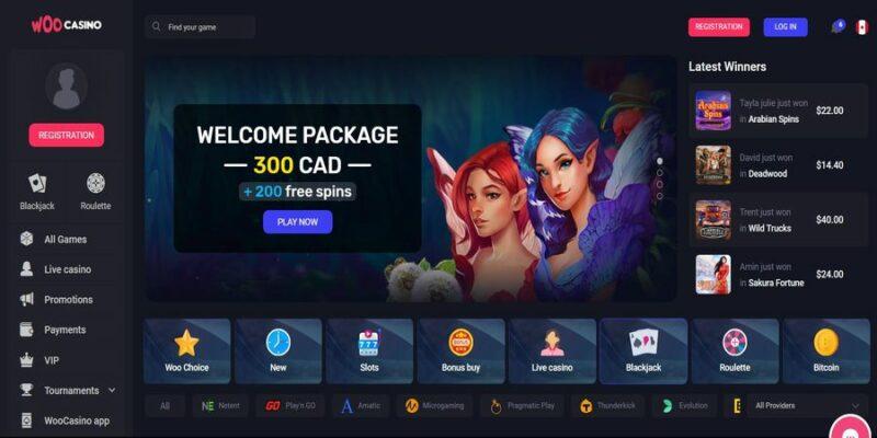 Screenshot of the Woo Casino homepage
