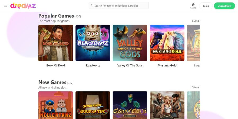 Dreamz casino homepage screenshot for Canada