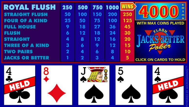 Screenshot of the video poker.