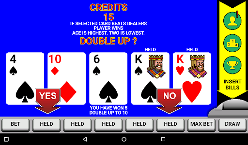 screenshot of the double up feature mode in video poker.