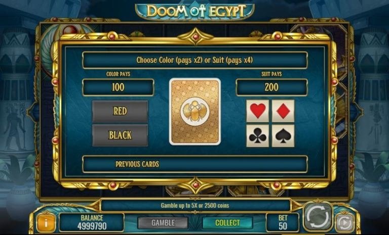 Doom of Egypt slot with gamble feature.