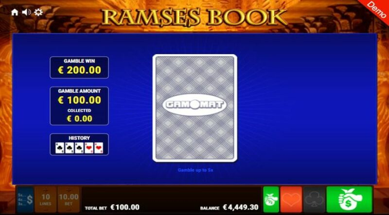 Double up feature screen at Ramses Book slot.
