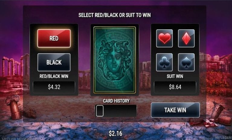 Double up feature at Medusa Megaways slot game.