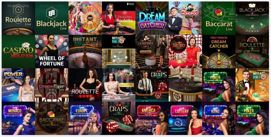 List of live casino games in casino online.