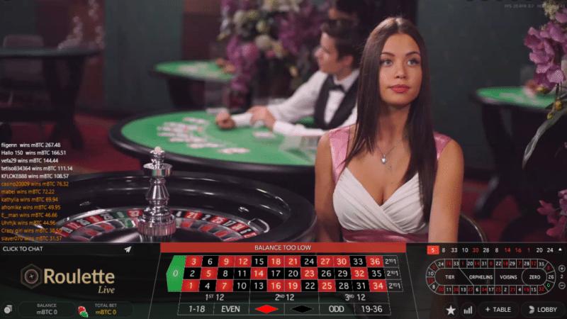 Live roulette casino game