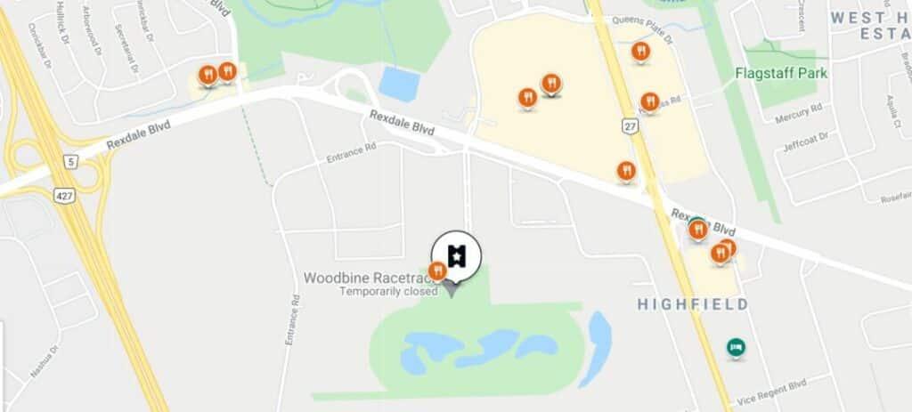 google map shows restaurants near the casino