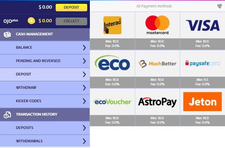 Playojo casino cashier page screenshot