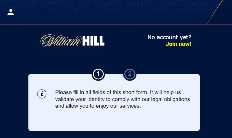 William Hill registration info
