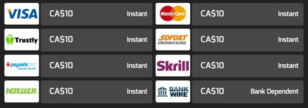 Hello banking methods for Canadian players.